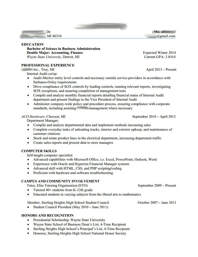 resume examples big 4 accounting