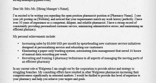 Cover Letter Template Pharmacist