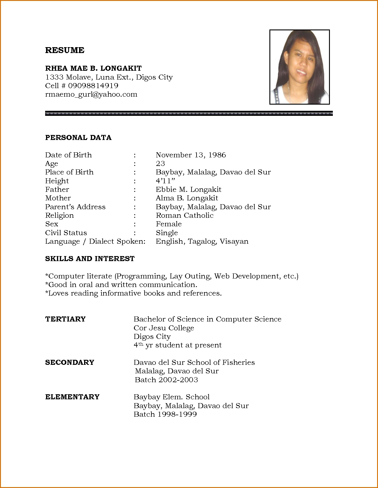 Free Resume Templates India - Resume Examples
