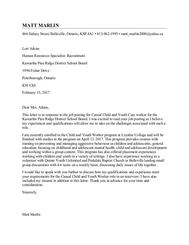 Cover Letter Template Youth Work