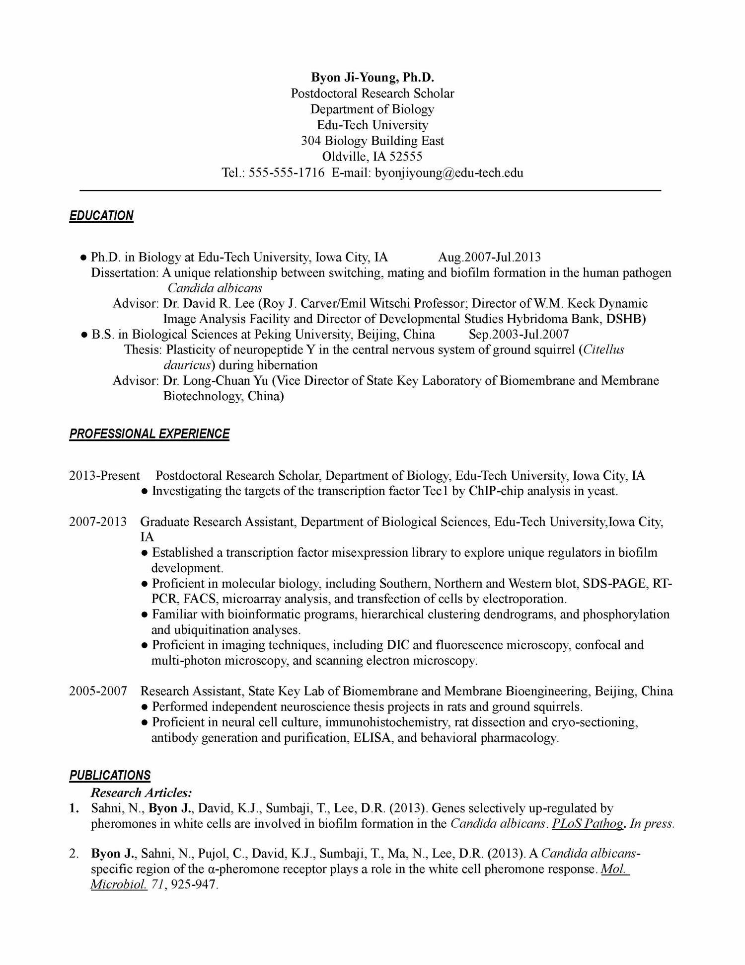 Cv Template Biology - Resume Examples
