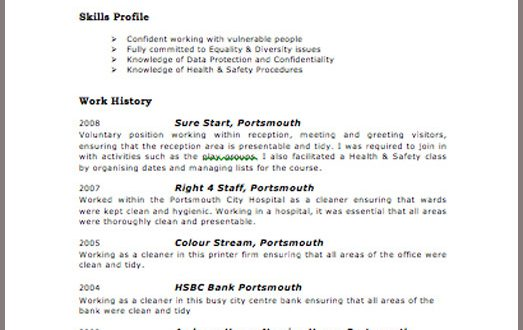 cv template examples uk