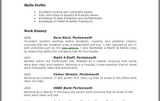 cv template examples uk