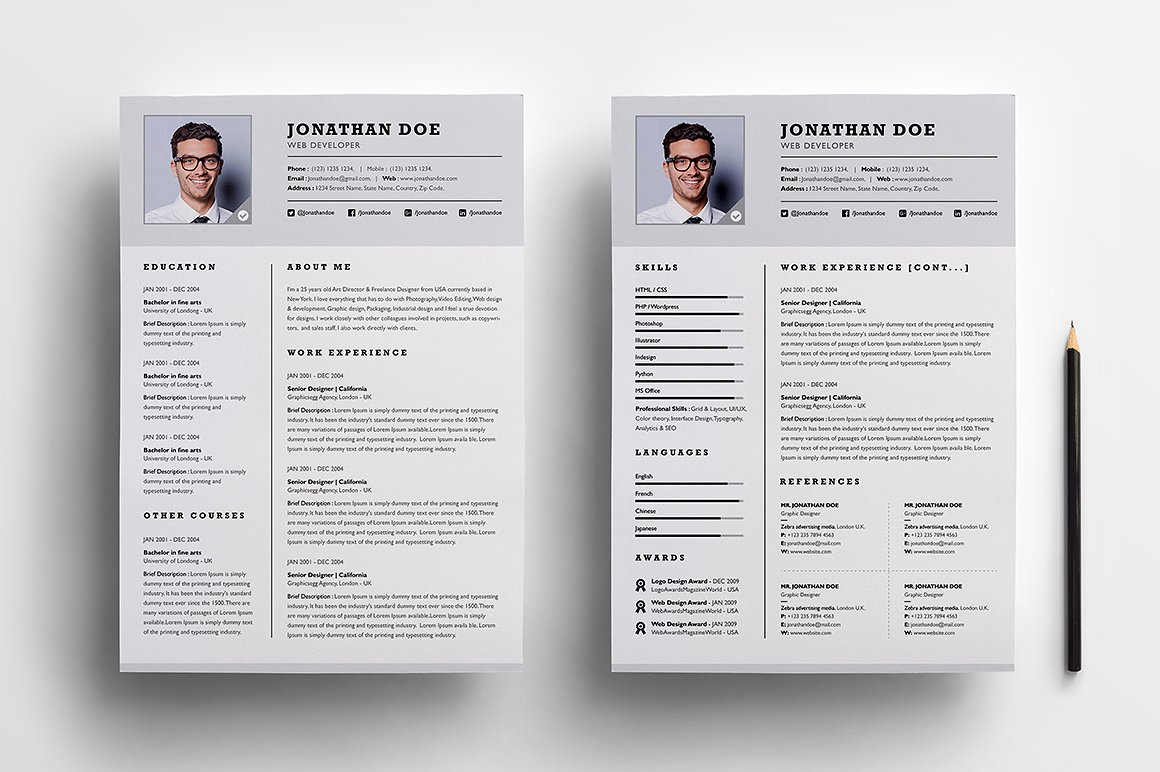 Free 2 Page Resume Templates Resume Examples