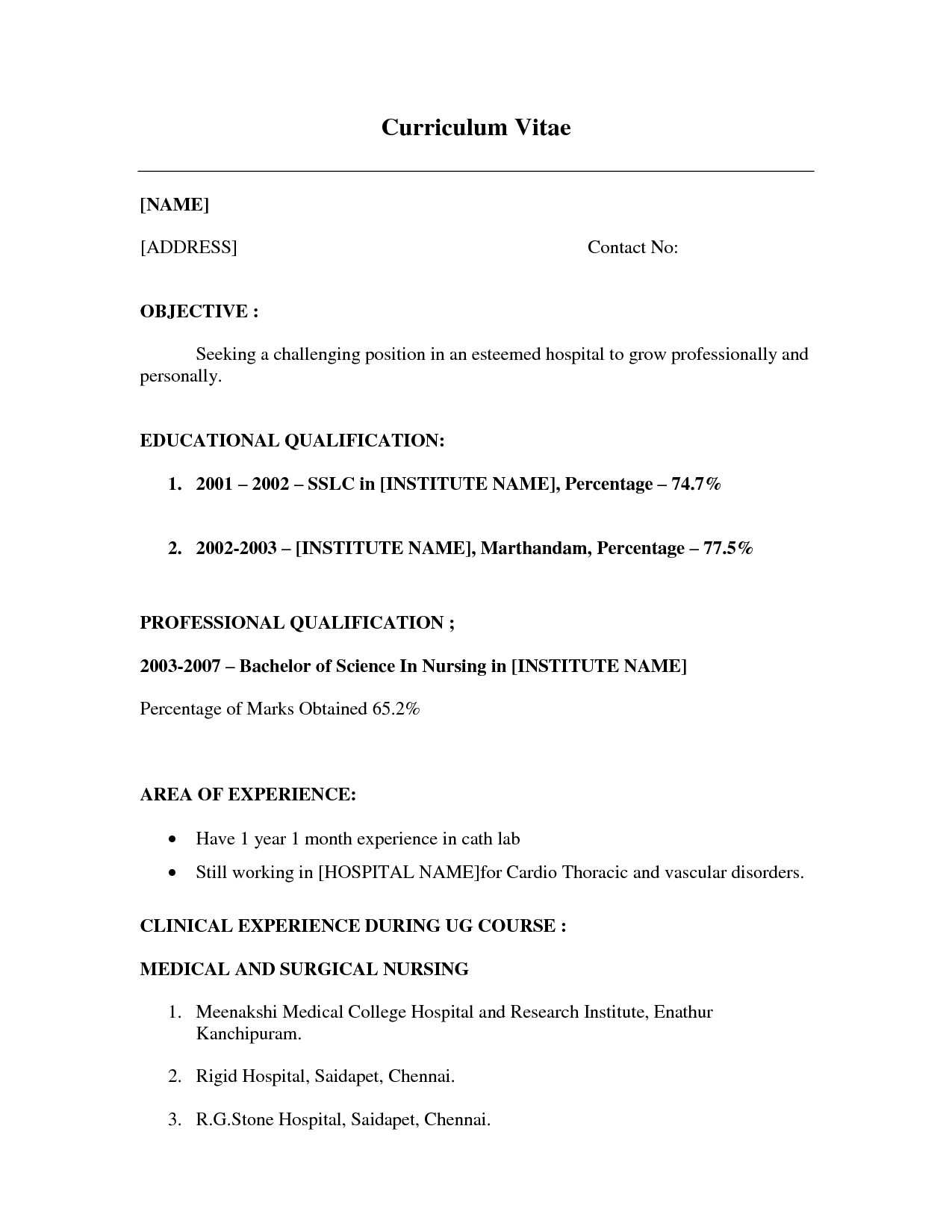 Free Resume Templates No Job Experience - Resume Examples