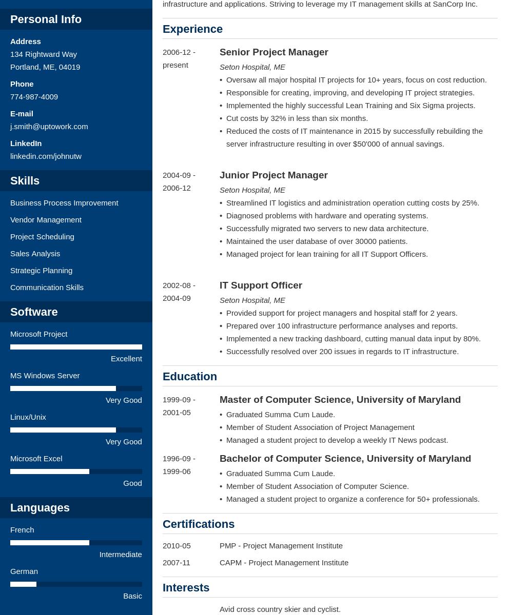 Free Resume Templates Cascade