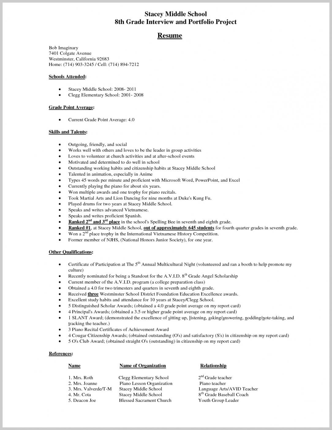 Grade 8 Resume Examples