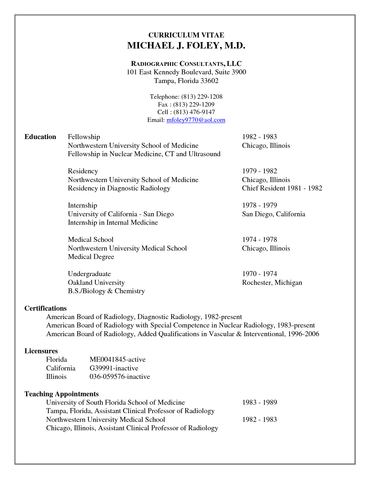 cv template resident physician