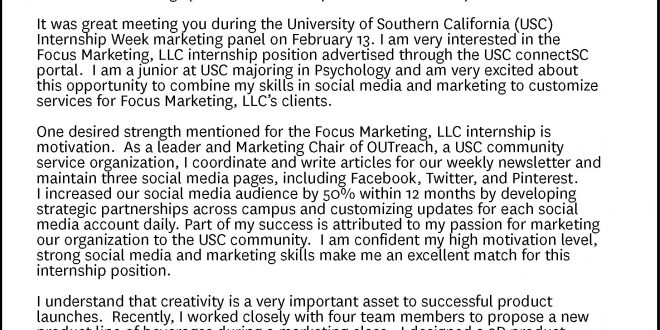 Cover Letter Template Usc Resume Examples
