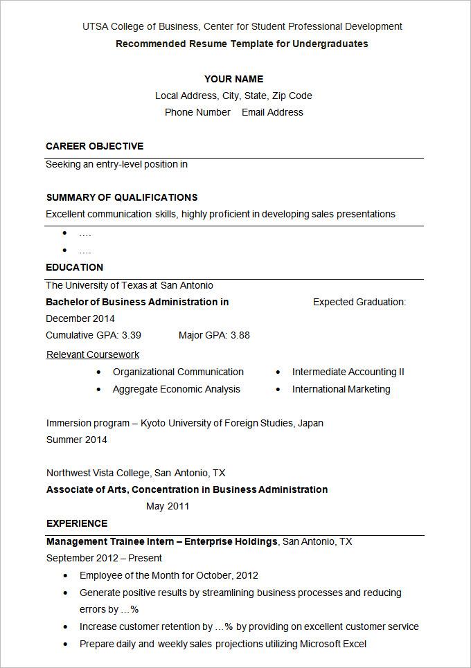Resume Examples University
