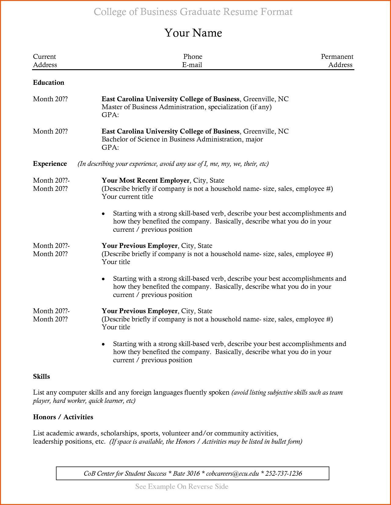 resume examples college graduate