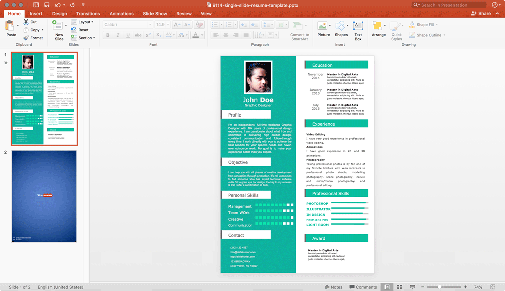 free resume templates powerpoint