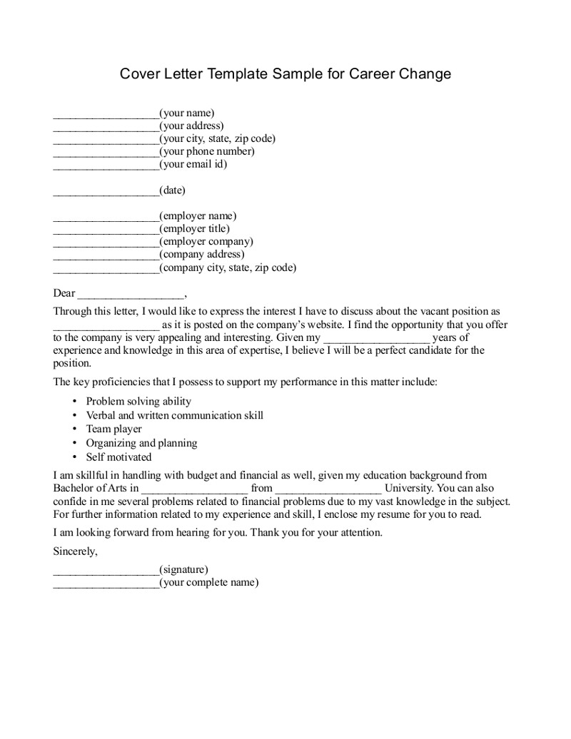 Cover Letter Template When Changing Careers