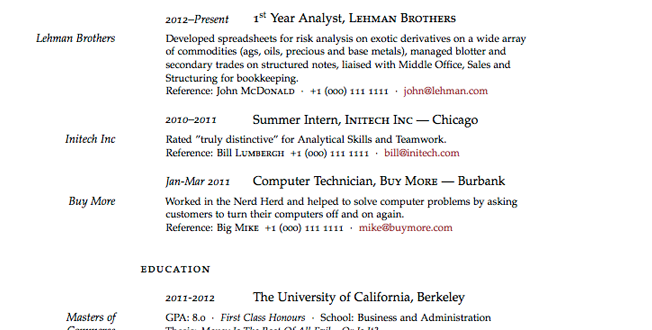 Cv Template In Latex For Academic