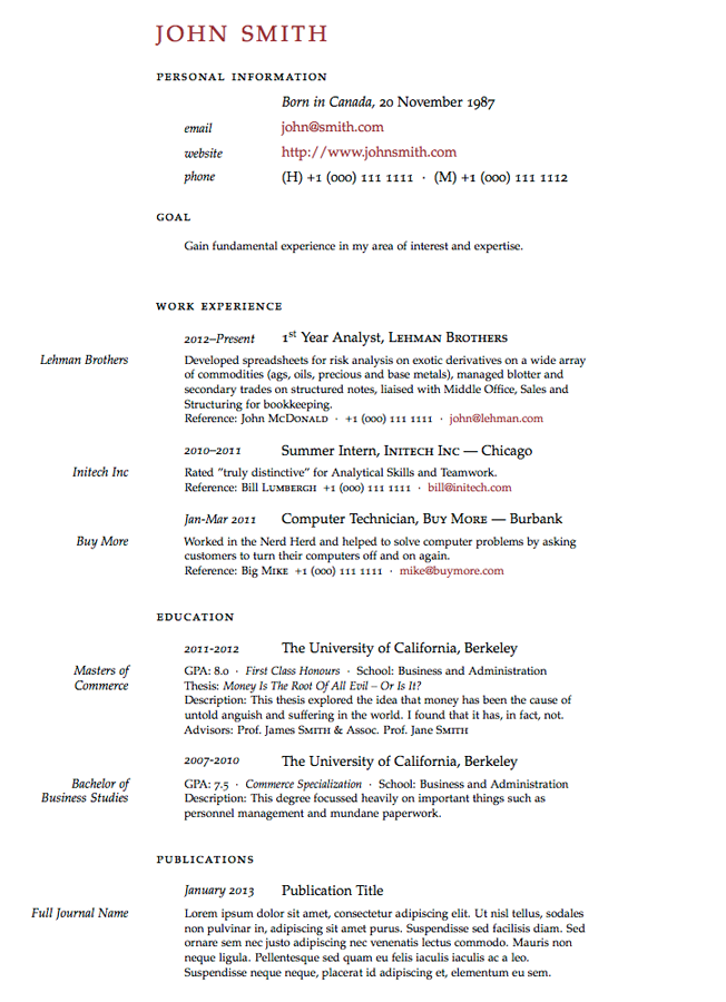 Cv Template Latex Phd