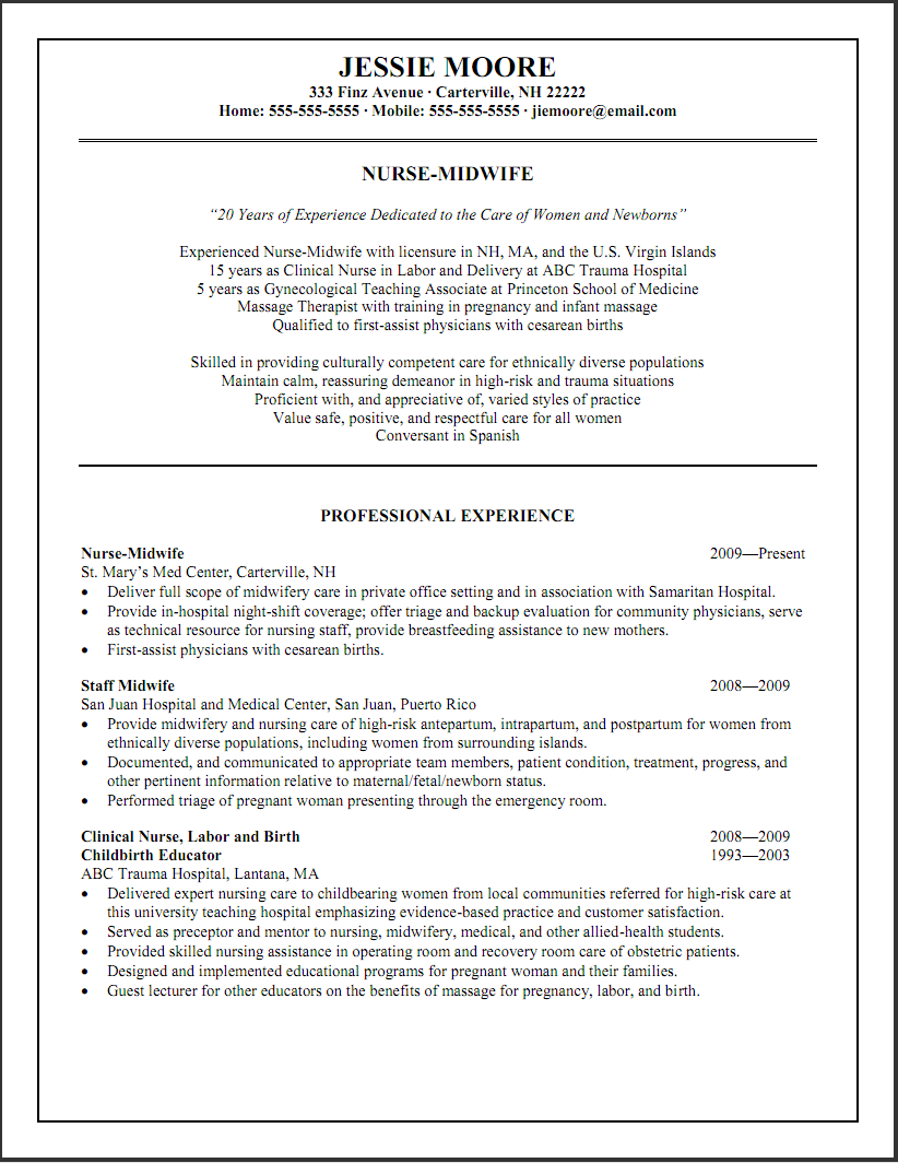 Resume Examples Varied Experience