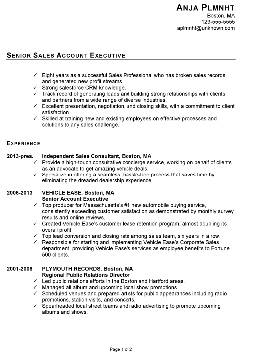 Resume Examples No College