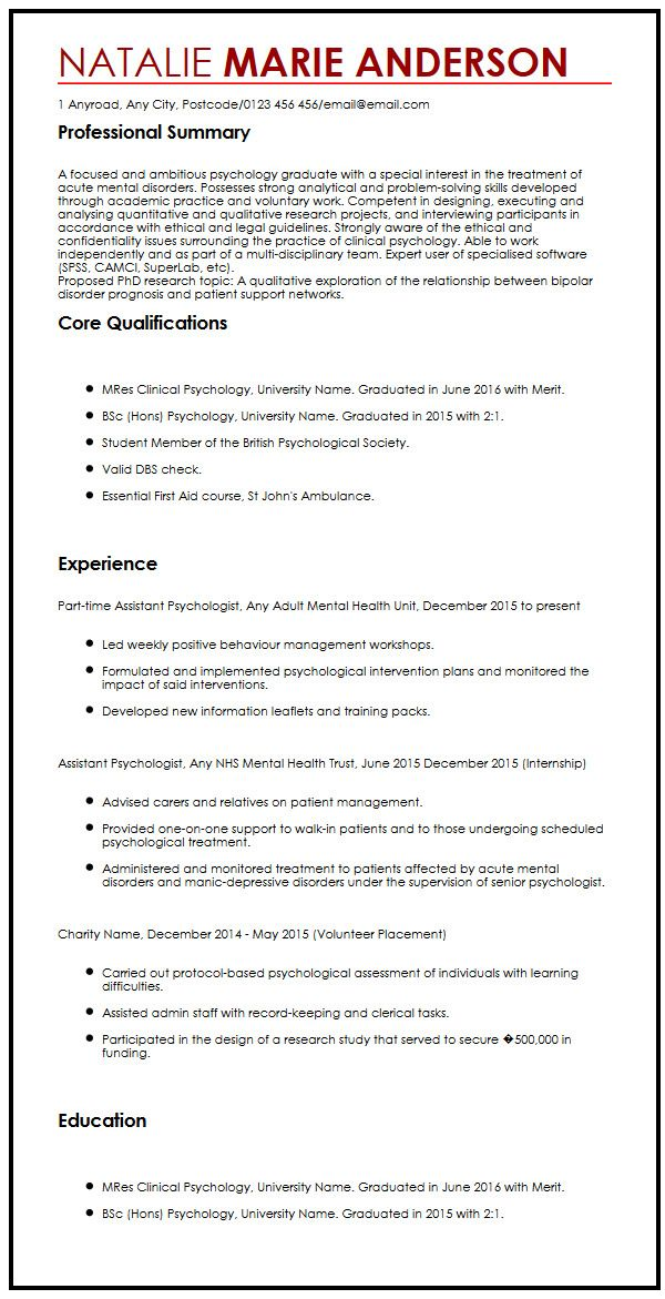 Cv Template Phd - Resume Examples
