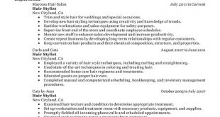 Resume Examples Hair Stylist