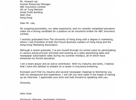 Cover Letter Template Recent Graduate
