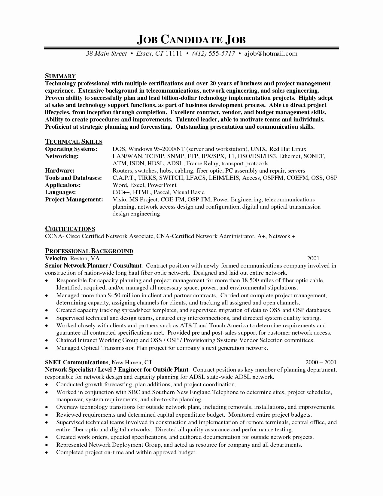 Resume Examples Network Engineer