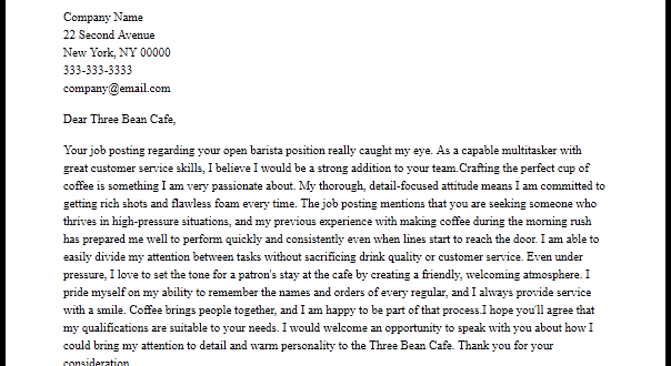 Cover Letter Template Barista Resume Examples