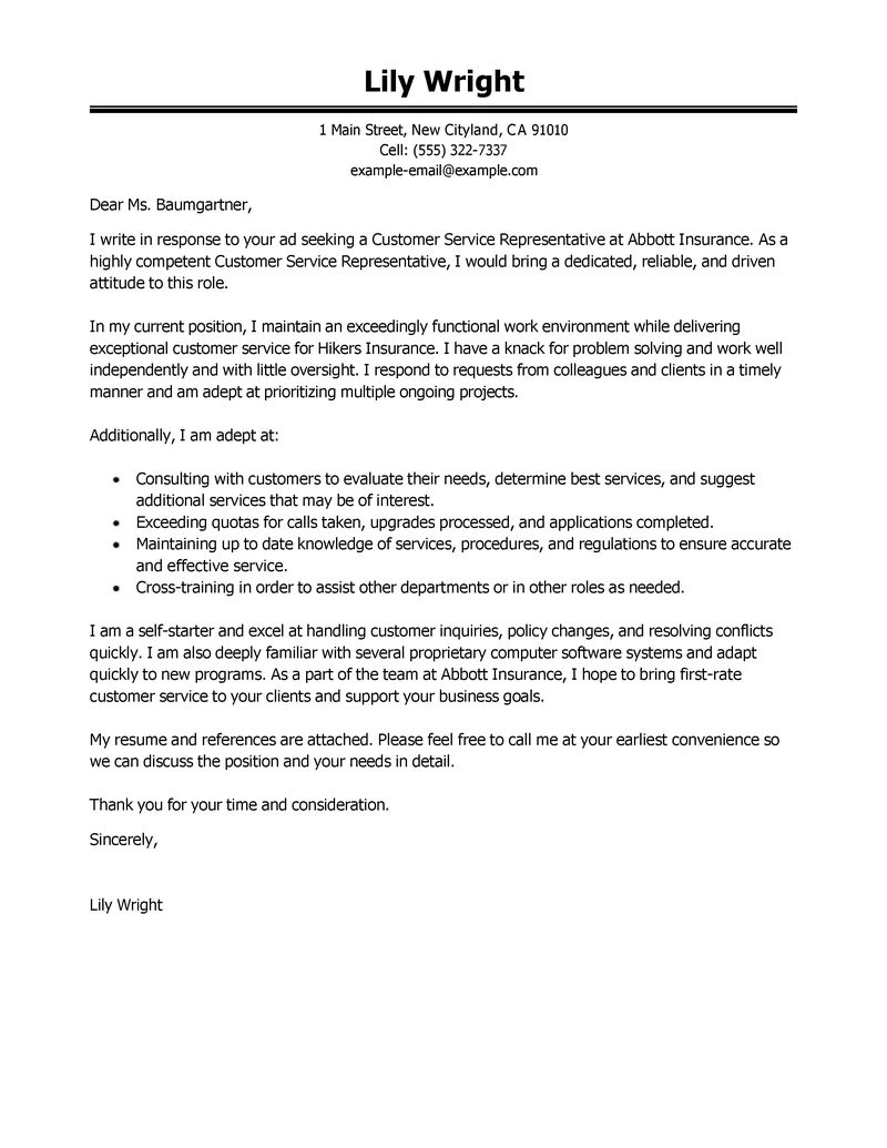 Cover Letter Template For Customer Service