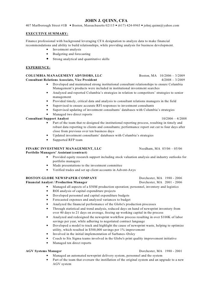cfa level 1 resume examples