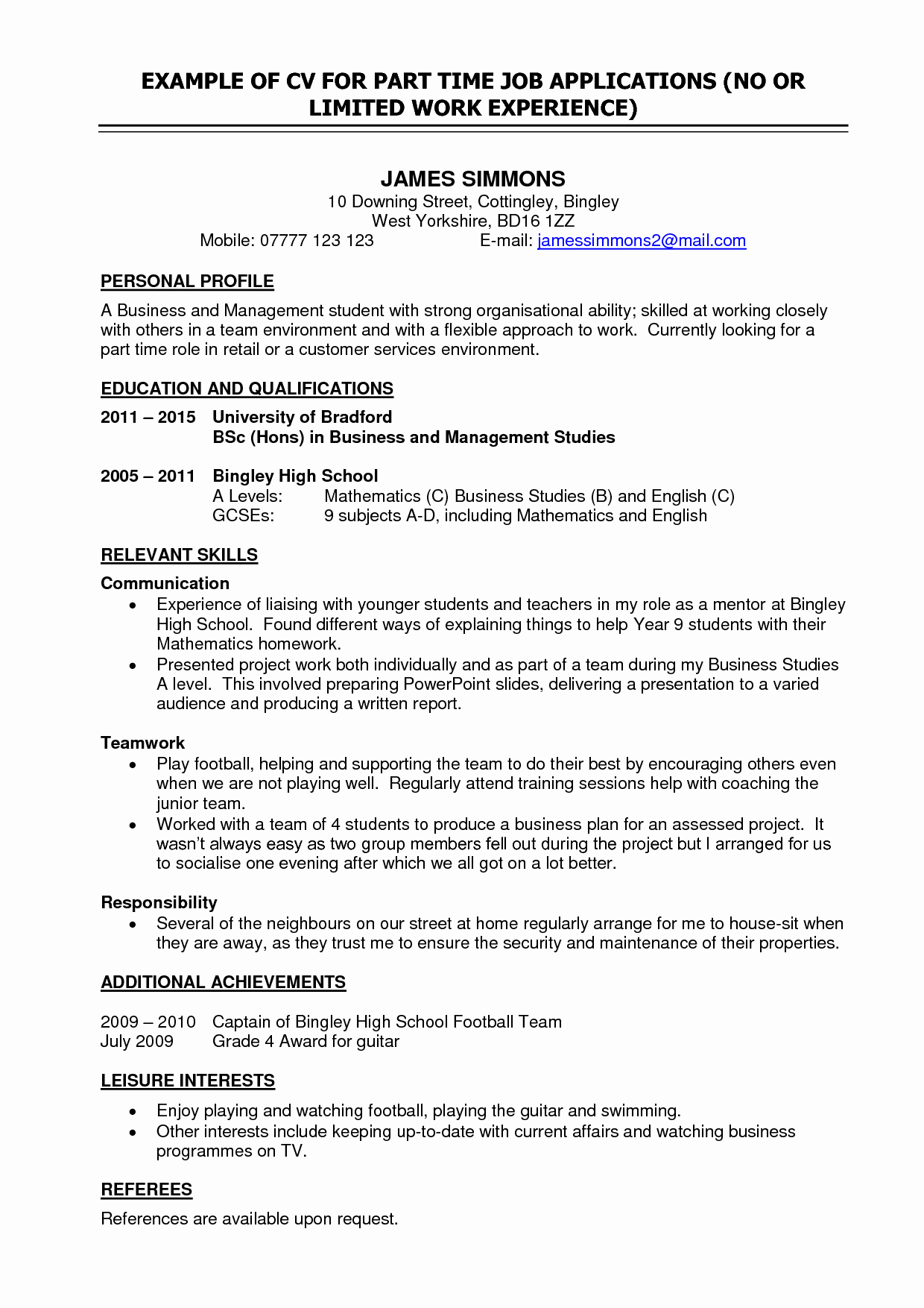 Resume Examples For Grade 9 Students