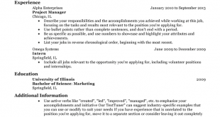 Resume Examples Experience