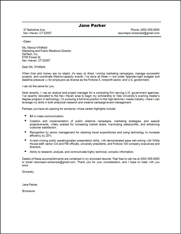 Cover Letter Template Quora