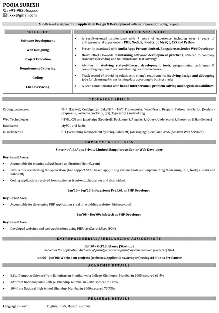 1 year experience cv template  resume examples