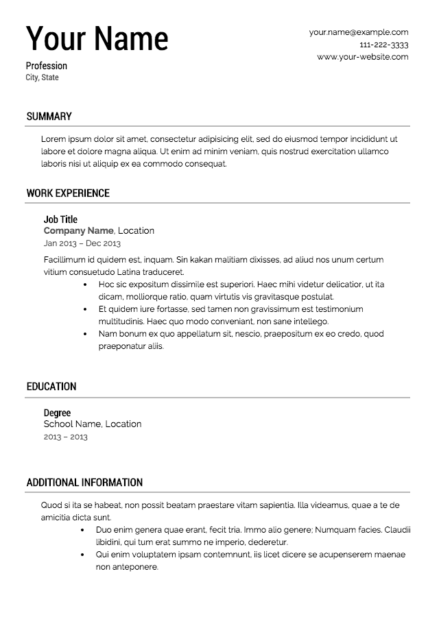 Free Resume Guide Template - Resume Examples
