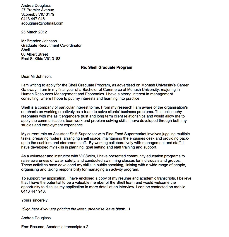 Cover Letter Template Australia 2016