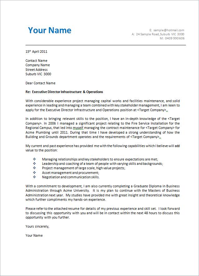 letter template australia  Cover Letter Template Australia - Resume Examples