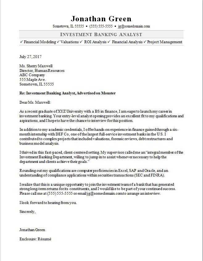 Cover Letter Template Banking