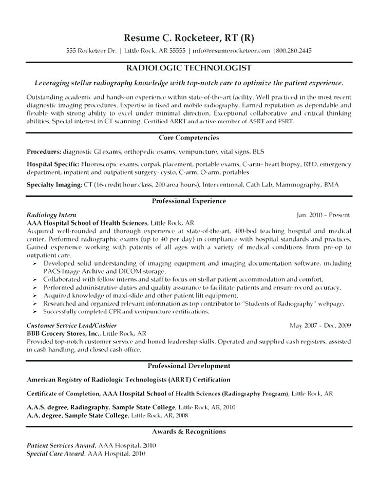 X Ray Tech Resume Examples