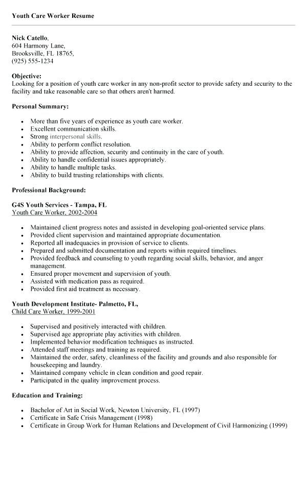 Resume Examples Youth Worker
