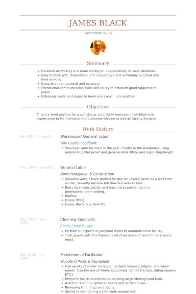 General Labor Resume Samples VisualCV Database