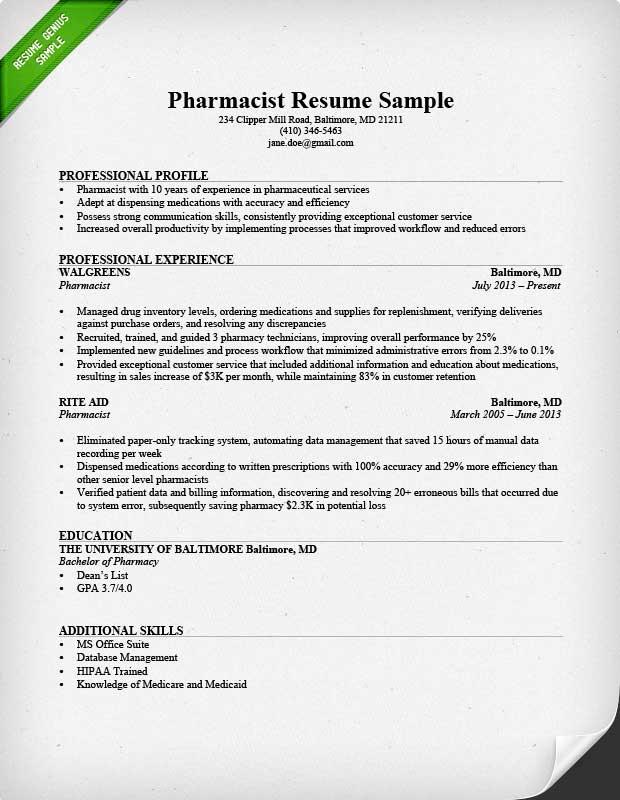 Resume Examples Pharmacist