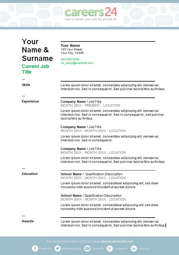 Curriculum vitae template free download south africa free cv mock.