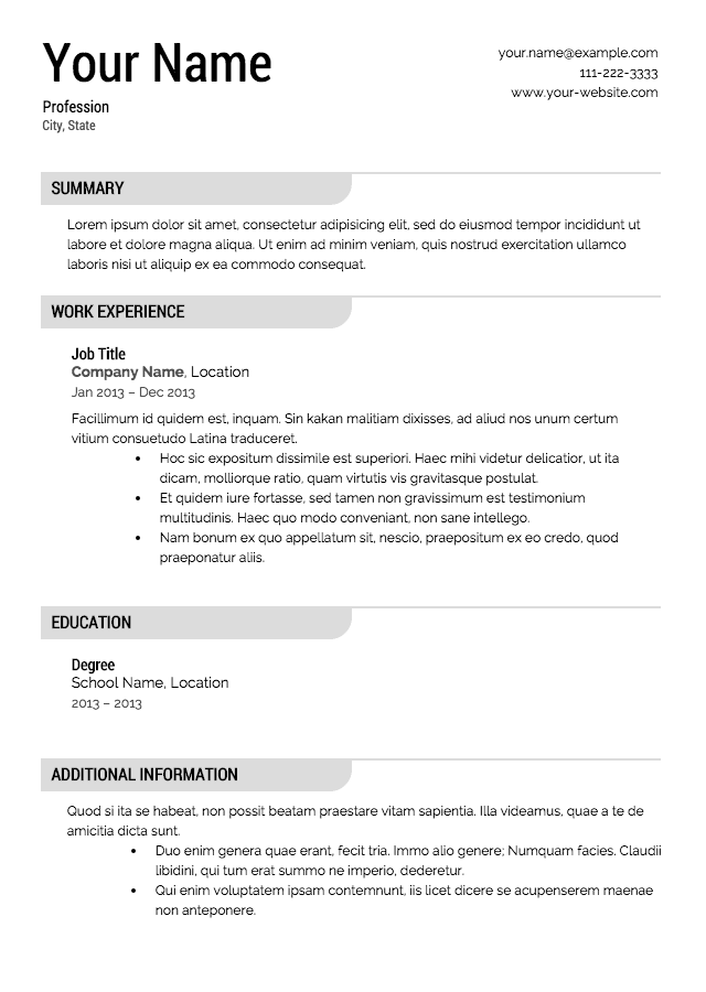 Free Resume Templates Examples