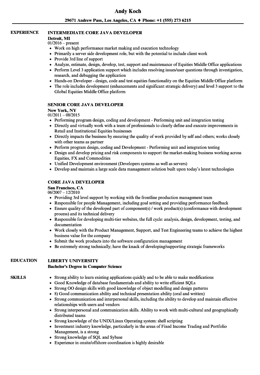 resume examples java developer