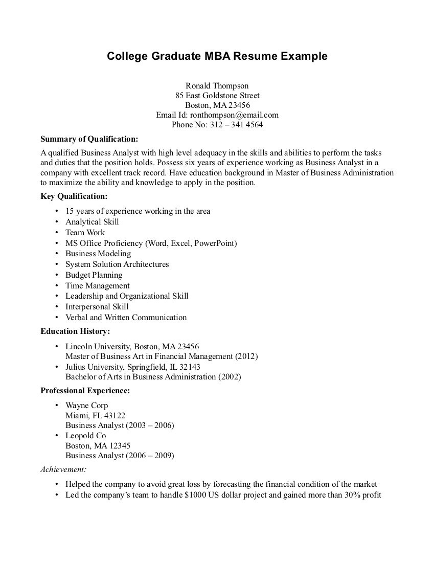 resume examples new college graduate