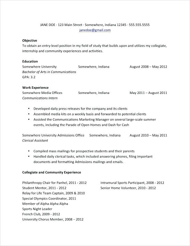 Resume Examples College Student