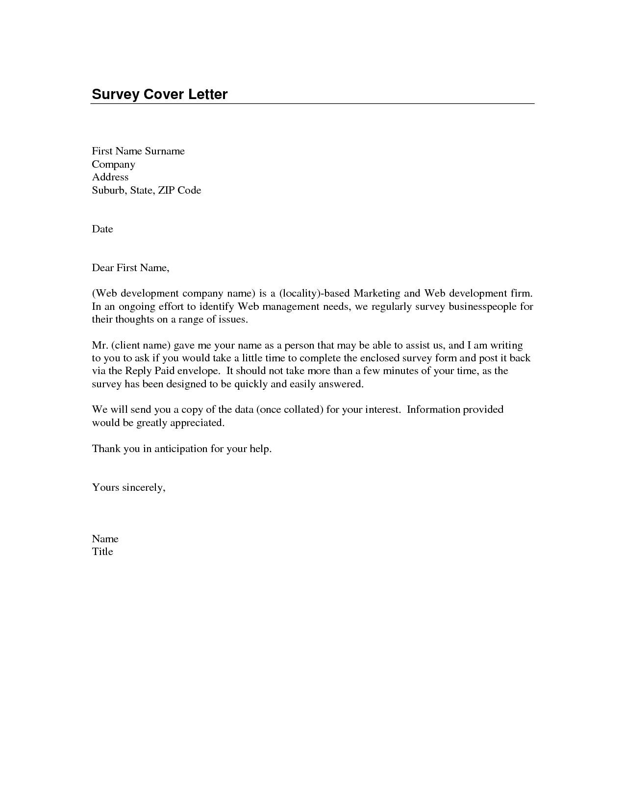 Cover Letter Questionnaire Template