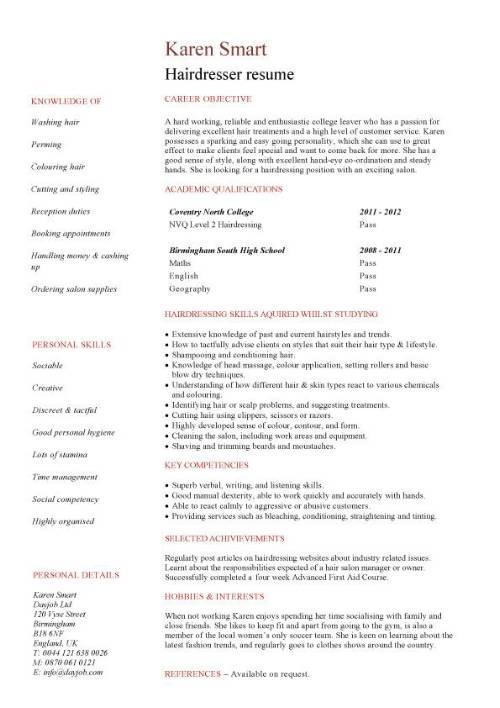 Free Resume Templates Hair Stylist